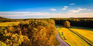 Opinião do outono dos campos de batalha da torre de observação de Longstreet imagens de stock