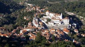 Opinião do palácio nacional, Sintra do olho do ` s do pássaro, Portugal Imagem de Stock Royalty Free