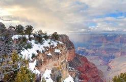 Opinião do panorama da garganta grande no inverno com neve fotografia de stock