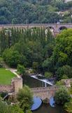 Opinião do panorama da ponte dois velha em Luxemburgo Fotografia de Stock