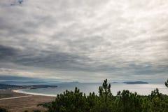 Opinião do panorama da praia de Lanzada do La no Rias Baixas Foto de Stock