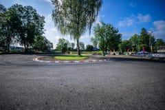 A opinião do panorama da trilha suíça do campeonato do kart wohlen dentro fotografia de stock
