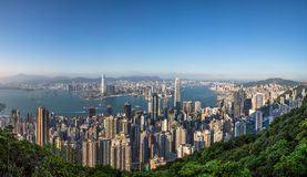 Opinião do panorama Hong Kong City From o céu imagens de stock royalty free
