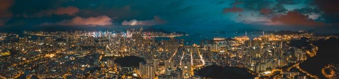 Opinião do panorama Hong Kong City From o céu Imagem de Stock Royalty Free