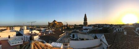 Opinião do por do sol da catedral em Córdova Fotografia de Stock Royalty Free