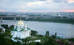 Opinião do por do sol da igreja de Alekseevskaya Fotos de Stock