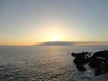 Opinião do por do sol da ilha de Gomera do La imagens de stock