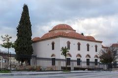 Opinião do por do sol da mesquita de Fethiye em Atenas, Grécia fotografia de stock