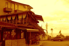 Opinião do por do sol da rua de Rezovo, beira búlgara Foto de Stock