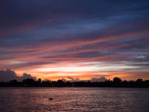 Opinião do por do sol de Chao Phraya River Fotos de Stock