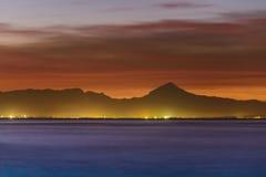 Opinião do por do sol de Denia do porto Imagem de Stock Royalty Free