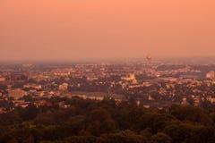 Opinião do por do sol de Krakow, Polônia Imagem de Stock Royalty Free