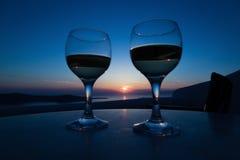 Opinião do por do sol de Santorini Imagens de Stock