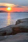 Opinião do por do sol de uma rocha Foto de Stock