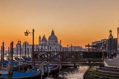 Opinião do por do sol de Veneza Itália Fotografia de Stock Royalty Free