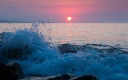 Opinião do por do sol do mar Fotos de Stock Royalty Free
