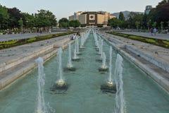 Opinião do por do sol do palácio nacional da cultura em Sófia, Bulgária Imagem de Stock