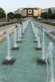 Opinião do por do sol do palácio nacional da cultura em Sófia, Bulgária Fotos de Stock Royalty Free