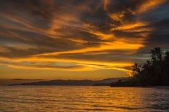 Opinião do por do sol no Anda Long Beach branco na ilha de Bohol de Phils Imagem de Stock