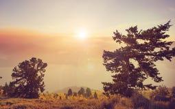 Opinião do por do sol fotografia de stock