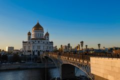 Opinião do por do sol da catedral de Cristo o salvador Fotos de Stock Royalty Free