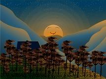 Opinião do por do sol da montanha da paisagem da ilustração Imagem de Stock
