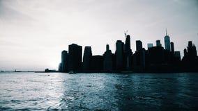 Opinião do por do sol de New York Manhattan video estoque