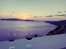 Opinião do por do sol em Imerovigli imagens de stock royalty free