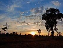 Opinião do por do sol na exploração agrícola fotos de stock royalty free
