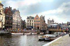 Opinião do porto de Ghent Fotografia de Stock