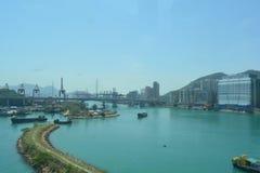 Opinião do porto de Hong Kong Fotos de Stock Royalty Free