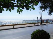 Opinião do porto de Tessalónica fotografia de stock royalty free