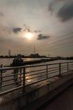 Opinião do porto do por do sol Foto de Stock Royalty Free