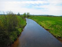 Opinião do rio, angra Novo Brunswick da serração Foto de Stock Royalty Free