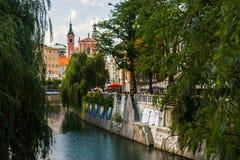 Opinião do rio de Ljubljana Fotografia de Stock