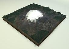 Opinião do satélite de Volcano Villarrica Foto de Stock Royalty Free