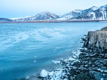 Opinião do Seascape em Borganes, Islândia fotografia de stock