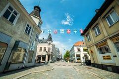 Opinião do sul da rua em Karlshamn Foto de Stock Royalty Free