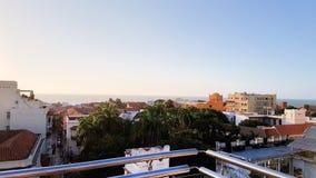 Opinião do telhado de Cartagena ao longo do oceano fotografia de stock