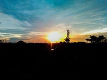 Opinião do telhado no tempo do crepúsculo Fotos de Stock Royalty Free