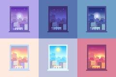 Opinião do tempo do dia da janela O nascer do sol e o crepúsculo do meio-dia e do por do sol da manhã do alvorecer do sol stars d ilustração do vetor