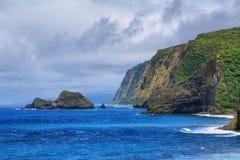 Opinião do vale de Pololu na ilha grande Fotos de Stock Royalty Free