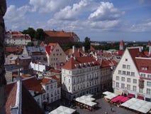 Opinião do verão da cidade velha de Tallinn, Estónia Fotografia de Stock