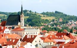 Opinião do verão de Cesky Krumlov na república checa Fotografia de Stock Royalty Free