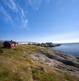 Opinião do verão de ilhas de Lofoten perto de Moskenes Fotos de Stock