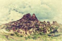 O castelo de Uchisar em Cappadocia fotografia de stock