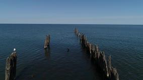 Opinião do zangão o mar Báltico e uma toupeira velha feita da madeira e das pedras vídeos de arquivo