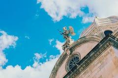 Opinião dos detalhes da catedral de St James em Sibenik, local do patrimônio mundial do UNESCO na Croácia Sibenik, a catedral, Cr Foto de Stock
