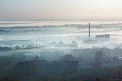 Opinião dos subúrbios da cidade de Lviv da manhã (Ucrânia) Imagem de Stock Royalty Free
