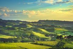 Opinião dos vinhedos de Langhe, Castiglione Falletto e La Morra, Piedmont, Itália Europa fotografia de stock